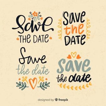 Set van opslaan de datum belettering
