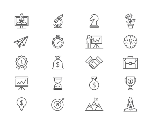 Set van opstartlijnpictogrammen. doel, gloeilamp, trofee, prijs en meer.