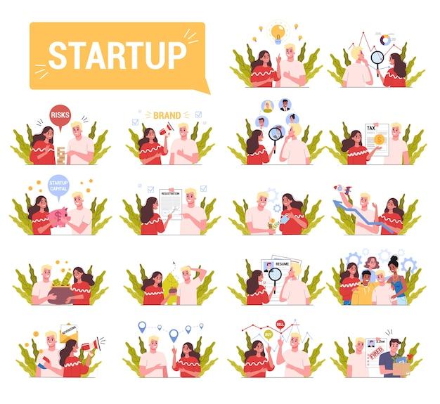Set van opstartproces met mensen die samenwerken. ideeën genereren, onderzoeken, inhuren, adverteren. bedrijfsstrategie bouwen. illustratie