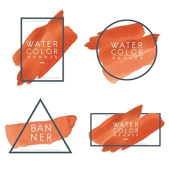 Set van oranje aquarel banner ontwerp vector