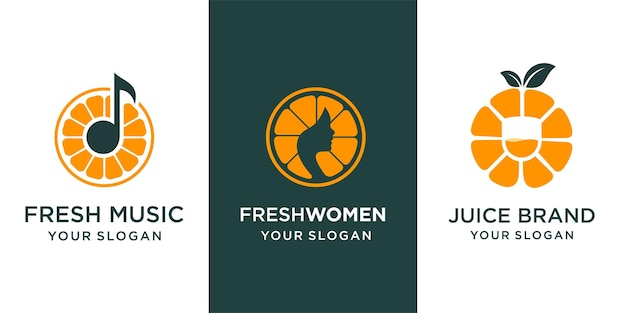 Set van oranje logo. logo voor muziek, sap en schoonheid. vectorontwerpillustraties