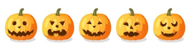 Set van oranje pompoenen voor halloween