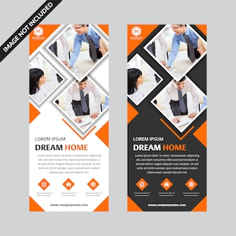 Set van oranje vierkante business roll up banner platte sjabloon
