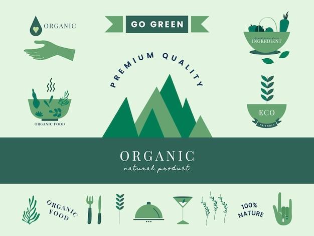 Set van organische en groene pictogrammen