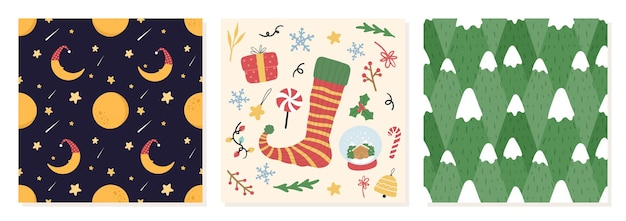Set van organische handgetekende kerst naadloze patroon vectorillustratie