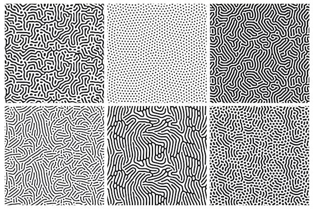 Set van organische naadloze patronen met afgeronde lijnen, druppels. achtergrond van diffusiereactie. lineair ontwerp met biologische vormen. structuur van natuurlijke cellen, doolhof, koraal. abstracte illustratie.