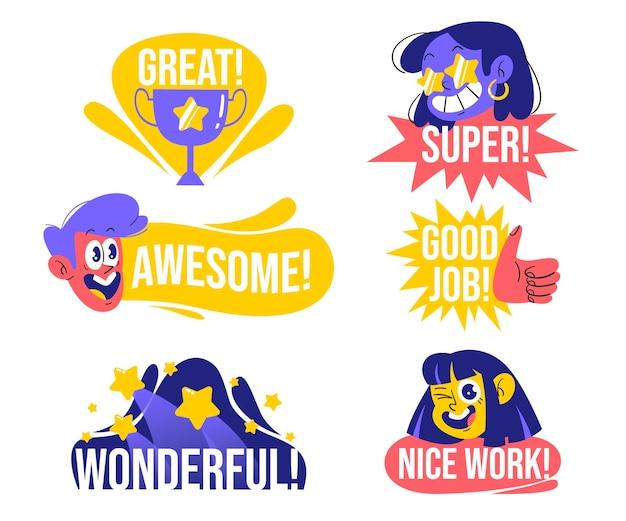 Set van organische plat goed werk stickers