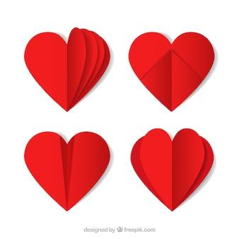 Set van origami rode harten