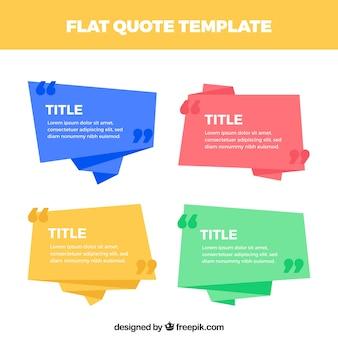 Set van origami spraakbellen voor citaten