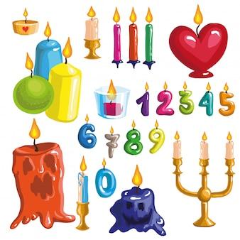 Set van originele kleurrijke kaarsen