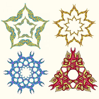 Set van ornament multicolor mandala's. vintage decoratief element.