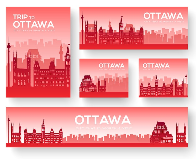 Set van ottawa landschap land ornament reistoer