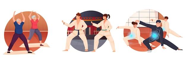 Set van oude en jonge mensen die vechtsportoefeningen uitvoeren