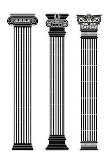 Set van oude griekse kolommen met hoofdsteden geïsoleerd