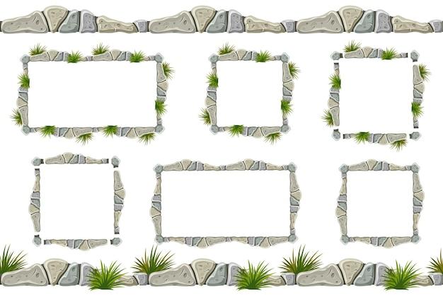 Set van oude grijze rotsgrens, frames met gras.
