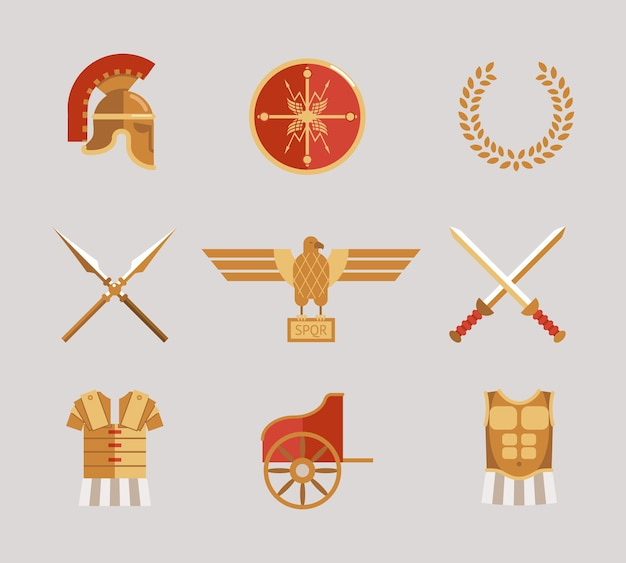 Set van oude krijger vector accessoires met een helm speren zwaarden krans tuniek borstplaat schild en adelaar in rood en goud