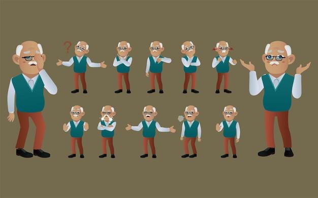 Set van oude mensen met verschillende emoties