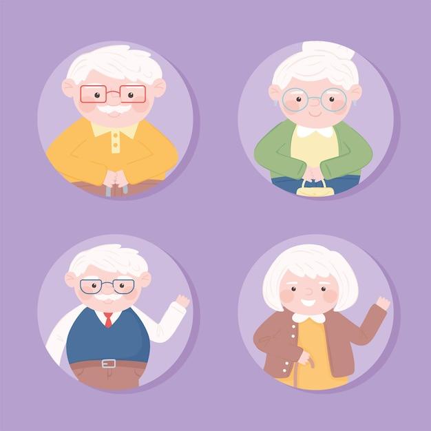 Set van oude mensen