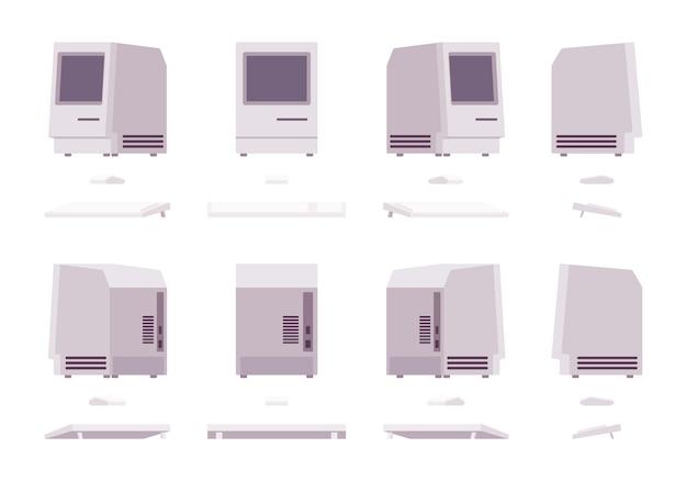 Set van oude monoblok-pc