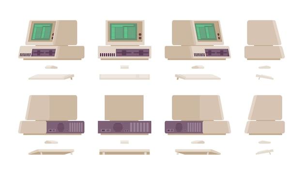 Set van oude personal computer