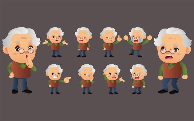 Set van oude persoon met verschillende emoties