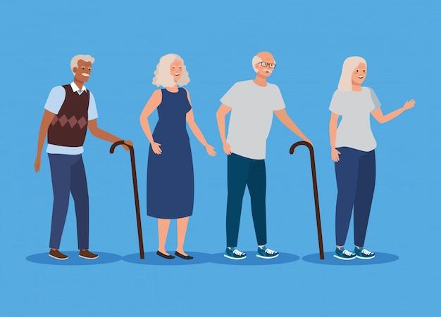 Set van oude vrouwen en mannen met wandelstok