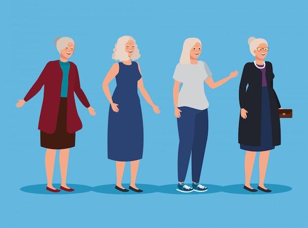 Set van oude vrouwen met casual kleding en kapsel