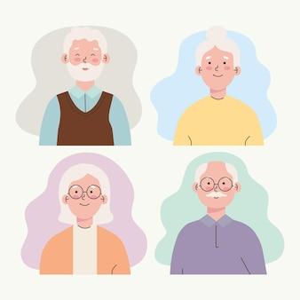 Set van oudere mensen