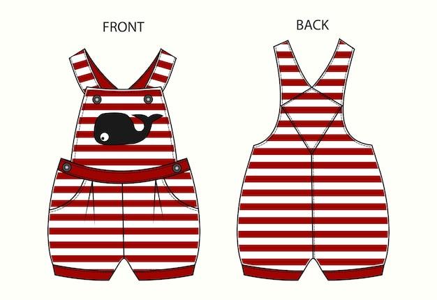 Set van overall voor baby met streeppatroon