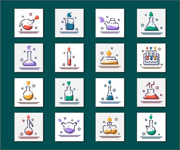 Set van overzicht gevulde pictogrammenlaboratorium kolven, reageerbuizen voor wetenschappelijk experiment. chemisch laboratorium
