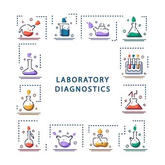 Set van overzicht pictogrammen, framelaboratory kolven, reageerbuizen voor wetenschappelijk experiment. chemisch laboratorium