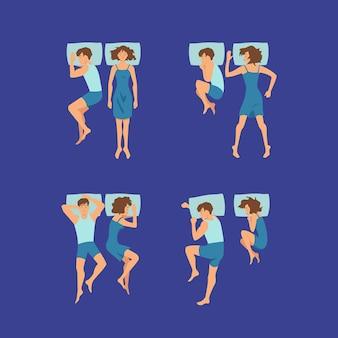 Set van paar man en vrouw zoete slapen op kussens in slaapkamer vormt illustratie