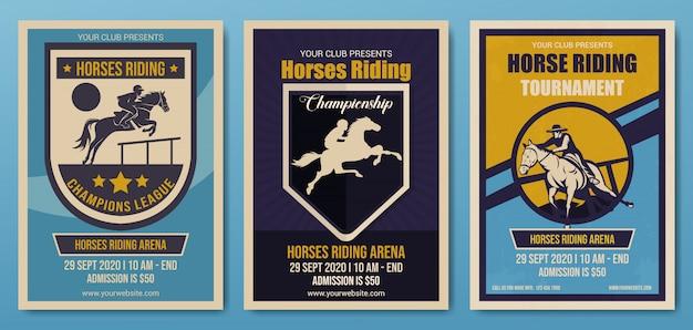 Set van paarden rijden kampioenschap flyer sjabloon, retro