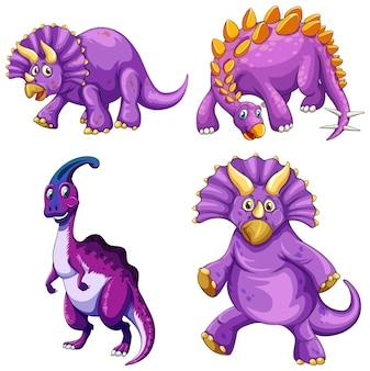 Set van paarse dinosaurus stripfiguur
