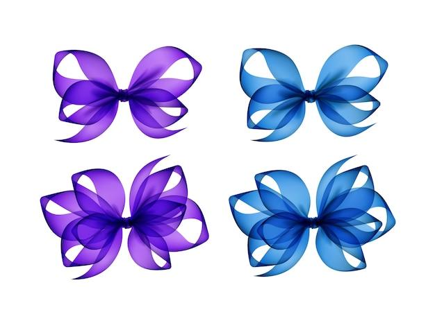 Set van paarse lichtblauwe transparante geschenkbogen