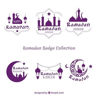Set van paarse ramadan badges
