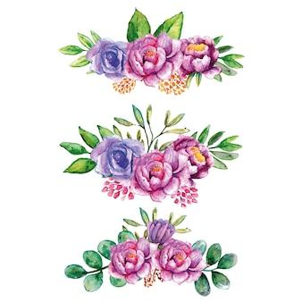 Set van paarse rozenboeketten