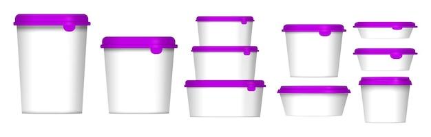 Set van pakketdoossjabloon of doosproductverpakkingssjabloonconcept