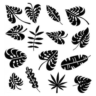 Set van palmbladeren silhouetten geïsoleerd op een witte achtergrond. eenvoudige platte handgetekende illustraties.