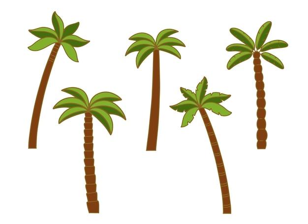 Set van palmbomen, kleurrijke foto, vlakke stijl, geïsoleerd pictogram. vectorillustratie op witte achtergrond.