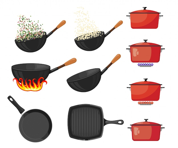 Set van pannen en potten op wit