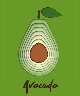 Set van papier gesneden groene avocado, gesneden vormen