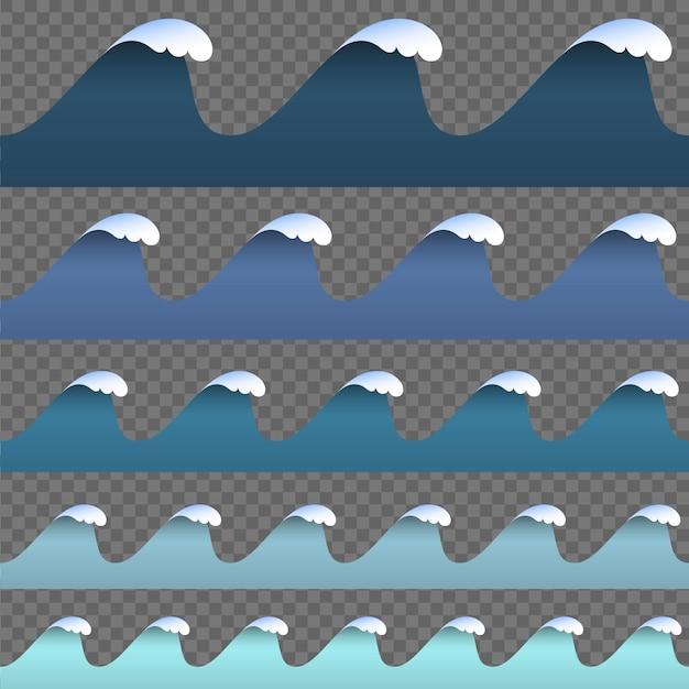 Set van papier kunst cartoon blauwe abstracte golven