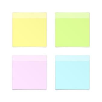 Set van papier sticker sticky note post memo label op witte achtergrond