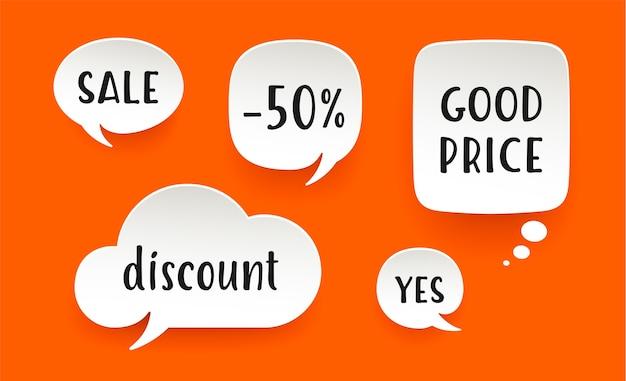 Set van papier zeepbel wolk praten met schaduw. witboek wolk praten silhouet met tekst verkoop, korting, -50 procent. elementen voor spraak, bericht. illustratie