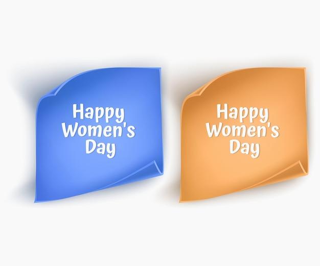 Set van papieren banners van blauwe en gele kleuren voor de groet van de dag van de vrouw