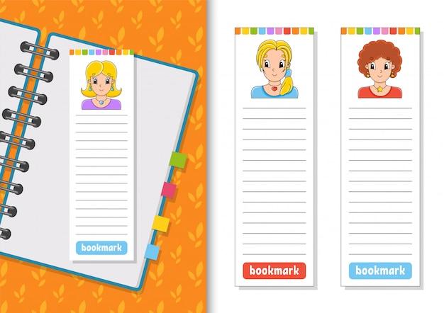 Set van papieren bladwijzers voor boeken met schattige stripfiguren.