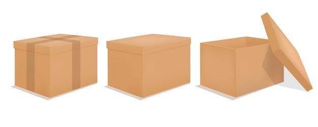 Set van papieren dozen voor het verpakken van goederen