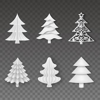 Set van papieren kerstbomen
