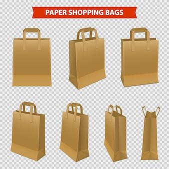 Set van papieren zakken om te winkelen
